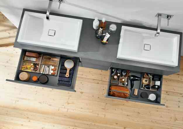 פתרונות סדר ואחסון לארונות אמבטיה | בלורן מוצרי פרזול לאמבטיה