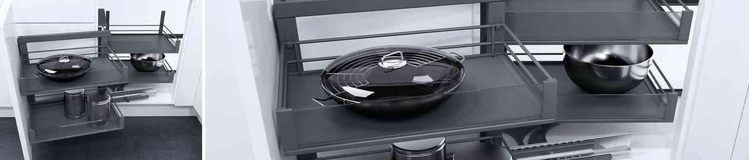 מג'יק נשלף פינתי - פתרון אחסון לארון פינתי במטבח | בלורן מוצרי פרזול למטבח