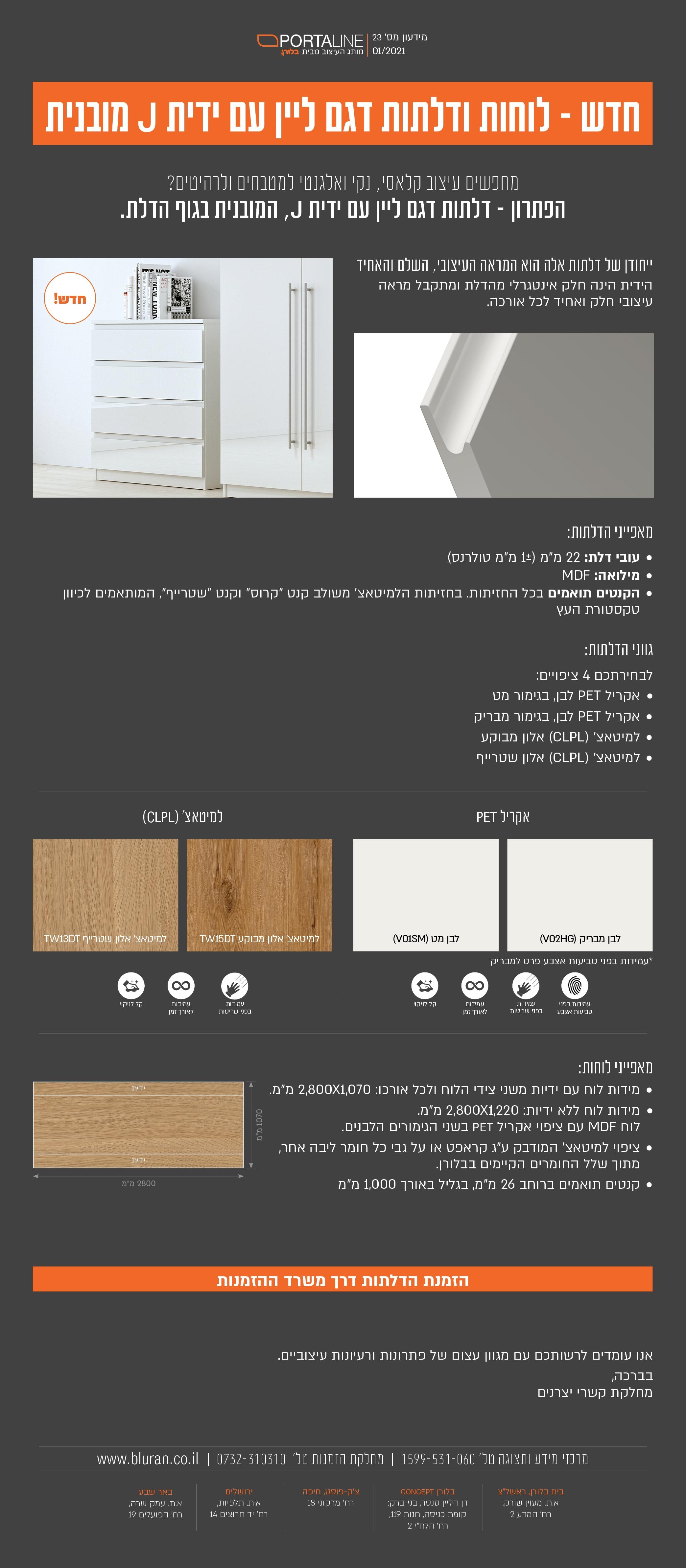חדש : לוחות ודלתות דגם ליין עם ידית J מובנית